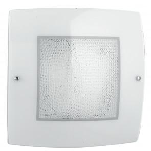 I-TRILOGY/PL30 - Plafoniera led bianca dalla linea essenziale ma elegante con cristalli decorativi 18 watt