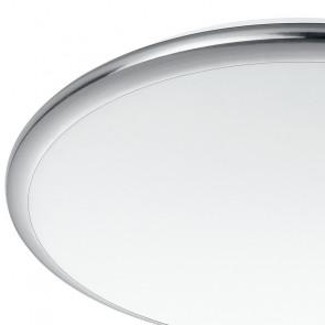 Plafonnier LED rond blanc et nickel...