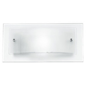 Applique rectangulaire incurvée blanche et transparente 60 watts E27
