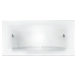 I-061228-3 - Applique Moderna Quadrata Doppio Vetro Bianco Satinato Bordo Trasparente Lampada da Parete E27