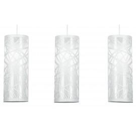 Tre Sospensioni con Paralumi Cilindrici in Acciaio Bianco con Decoro Astratto Intagliato Linea Batik