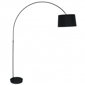 I-DREAM/PT NERO - Lampada Arco Paralume Tessuto Nero Metallo Nero Piantane Moderna E27