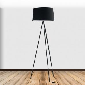 I-MARILYN-PT BLACK - Lampadaire Tripod Minimal Abat-Jour Métal Noir Tissu Lampadaire Moderne E27