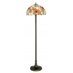 I-DAFNE-PT - Lampadaire élégant en verre coloré Cadre floral Métal Lampadaire classique E27
