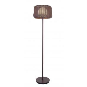 I-BABILON-PT - Abat-jour de lampadaire d'extérieur diffuseur opale sphérique brun polyvinyle tissé E27