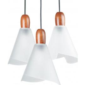 3 diffuseurs coniques en verre blanc avec détails en bois Brest Line