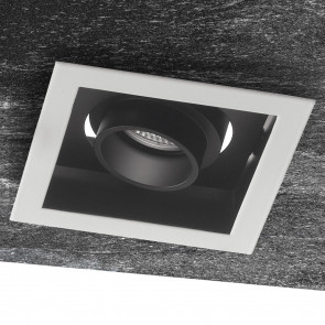 INC-APOLLO-1X10C - Incasso Quadrato Orientabile Bianco Nero Satinato Soffitto Ribassato Faretto Led 10 watt  Luce Calda