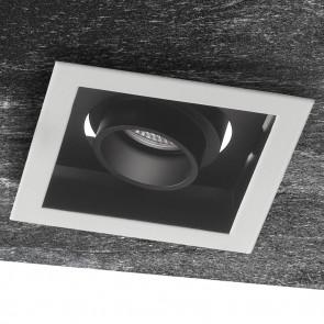 INC-APOLLO-1X10C - Plafonnier bas carré encastré blanc noir satiné réglable Spot 10 watts lumière chaude