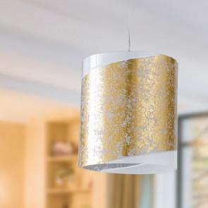 I-PARIS/S1 ORO - Sospensione Decoro Oro Vetro Bianco Cilindrica Lampdario Moderno E27