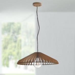 lampadario gabbia legno tondo pendente