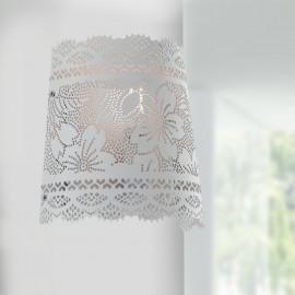 I-CLUNY-AP - Applique Classica Bianco Opaco Forato Pizzo Lampada da Parete E14