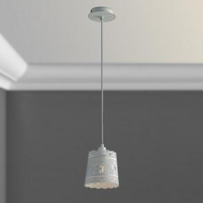 I-CLUNY-S14 - Suspension Abat-jour Blanc Mat Lustre Perforé Dentelle E14