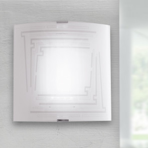 I-CONCEPT/AP26 - Applique Decoro Glitterato Quadrata Vetro Lampada a Parete Moderna E27