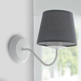 I-FAVOLA/AP1 - Applique Metallo Bianco paralume Tessuto Grigio Lampada da Parete E14