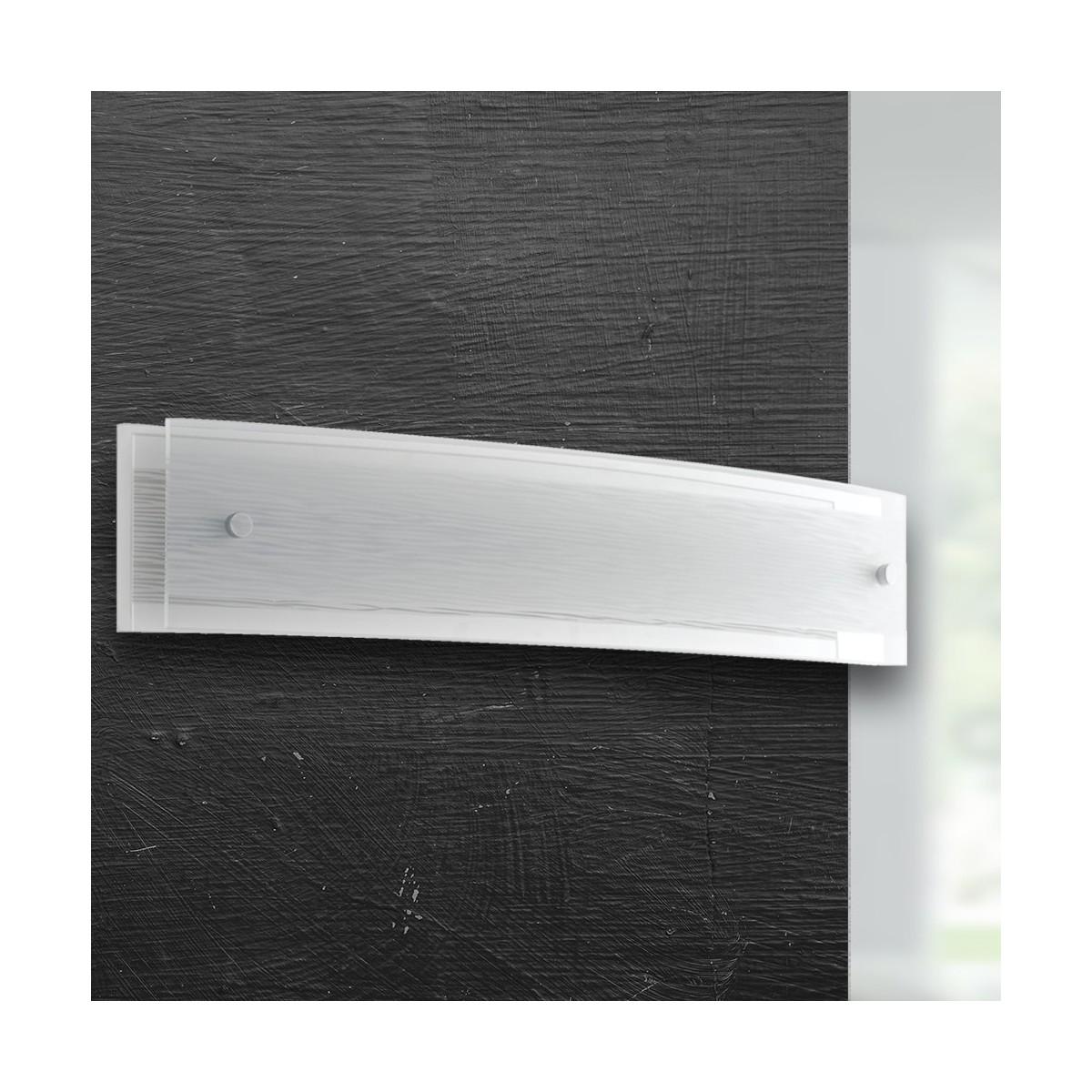 I-JOYCE/AP30X9 - Applique Rettangolare Vetro Decoro Linee Lampada Da Parete Led 10 watt Luce Naturale
