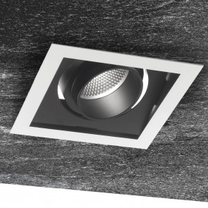 INC-APOLLO-1X45C - Incasso Nero Bianco Quadrato Orientabile Cartongesso Faretto Led 45 watt Luce Calda