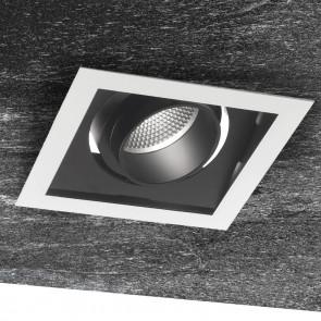 INC-APOLLO-1X45C - Plaque de plâtre réglable encastrée noire blanche carrée Spotlight 45 watts lumière chaude