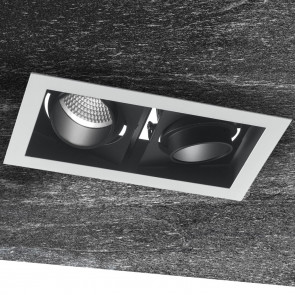 INC-APOLLO-2X20C - Spot noir blanc Deux lumières réglables encastrées faux plafond Led 40 watts lumière chaude