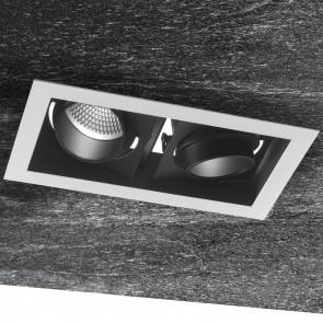 INC-APOLLO-2X45C - Faretto Orientabile Due Luci Nero Bianco Incasso Soffitto Ribassato Led 90 watt Luce Calda