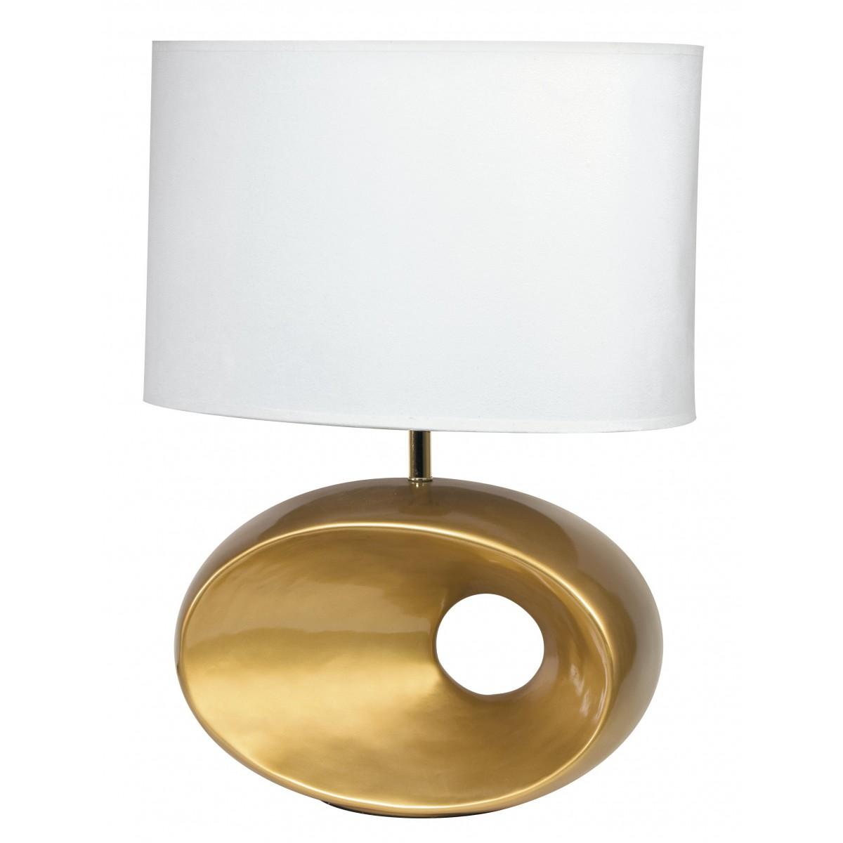 Design Lampade Da Tavolo i-eolo/l 58 - lampada da tavolo oro dal design moderno e con paralume  bianco 60 watt e27