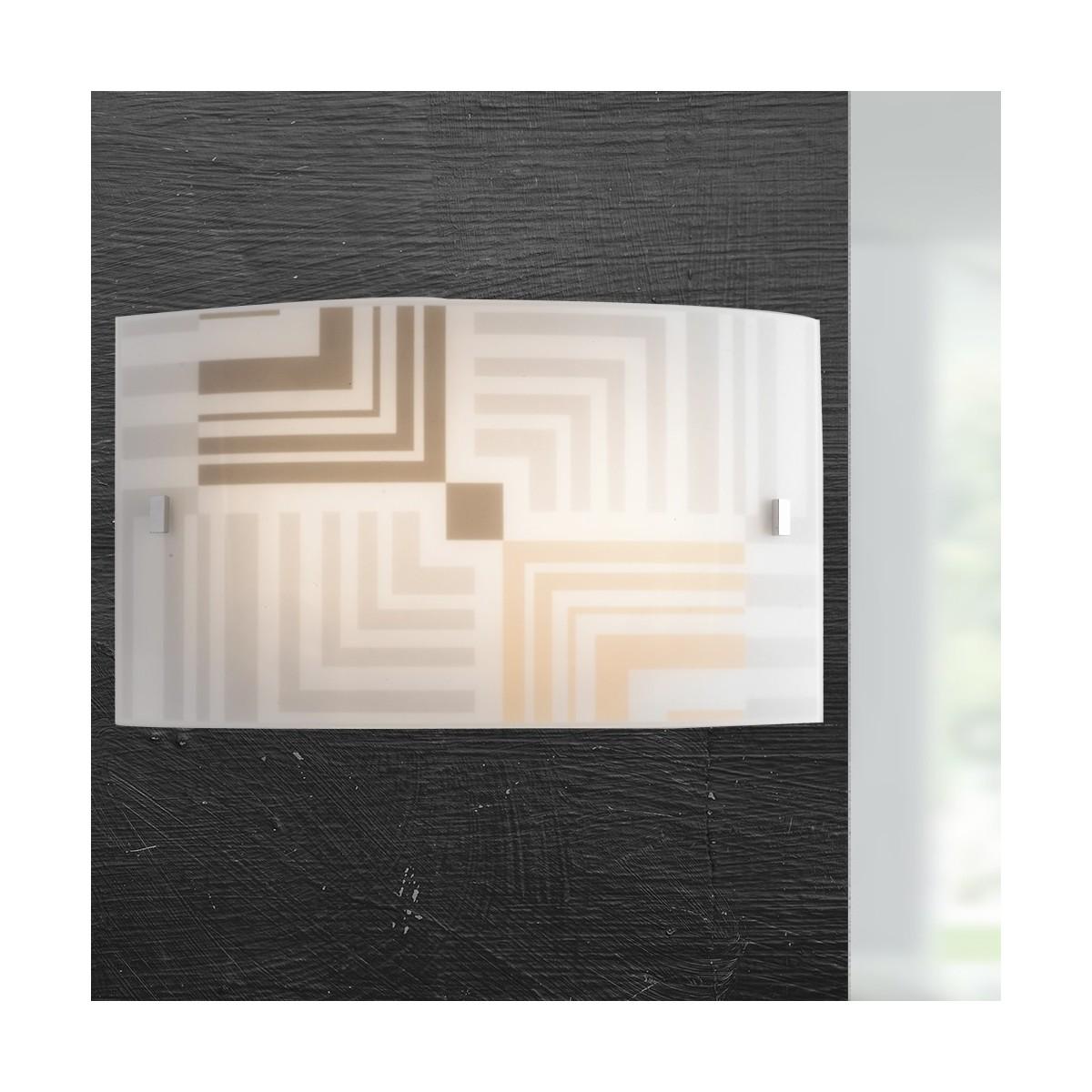 I-SEVENTY/AP3520 - Applique Rettangolare Vetro Bianco Decoro Frecce Lampada da Parete Moderna E27