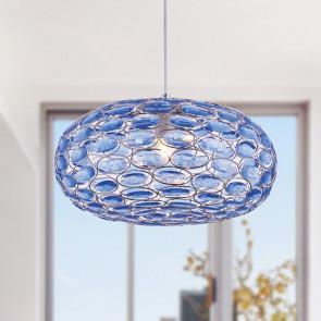 I-TURNER-S1 BLU - Sospensione Ovale Metallo Gemme Acrilico Blu Lampadario Moderno E27