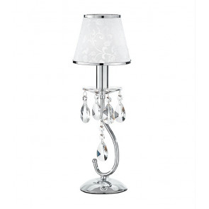 I-BOEME / L1 - Lampe de table Metal Drops K9 Crystals abat-jour Polyvinyl White Glitter Classic Lamp E14