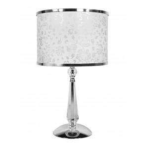 I-BOEME/LG1 - Lampada da Tavolo Metallo Cristallo K9 paralume Polivinilico Bianco Glitterato Classica E27