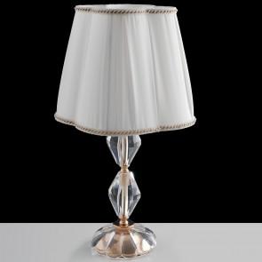 I-RIFLESSO/L1 ORO - Lumetto Classico Finiture Oro Cristallo paralume Tessuto Lampada da Tavolo E14