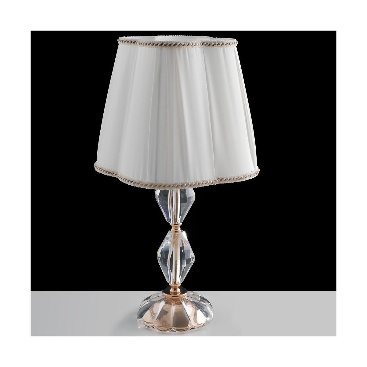 I RIFLESSOL1 ORO Lumetto Classico Finiture Oro Cristallo paralume Tessuto Lampada da Tavolo E14