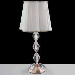 I-RIFLESSO/LG1 ORO - Lampada da Tavolo Classica Cristallo Finitura Oro paralume Tessuto E27