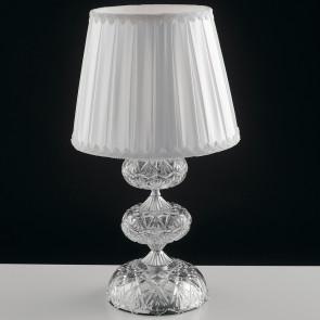 I-INCANTO / L1 - Lampe de table classique en tissu avec abat-jour en cristal de verre chromé Lume E14