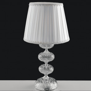 I-INCANTO/LG1 - Lampada da Tavolo Cromata Vetro Cristallo paralume Tessuto Classica E27