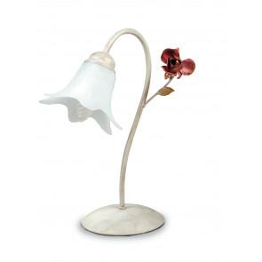 ROSE/L1 - Lumetto Rose Bianco Rosso Metallo diffusore Vetro Lampada da Tavolo Classica E14