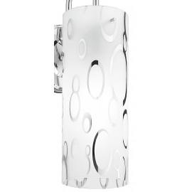 Diffusore Cilindrico in Vetro Bianco con Decoro simile a Bolle Cromate Linea Bubble