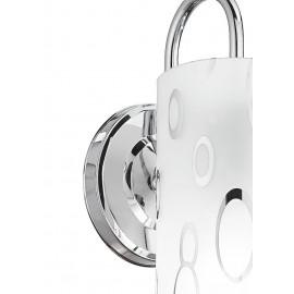 Applique Bubble con Struttura Cromata e Diffusore in Vetro Bianco Decorato da Bolle FanEurope