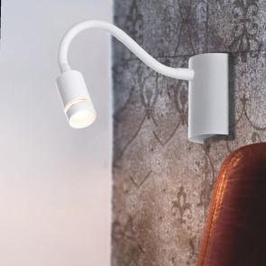 LED-KEPLER-BCO - Applique da Lettura Flessibile Silicone Bianco Lampada Moderna Led 3 watt Luce Calda