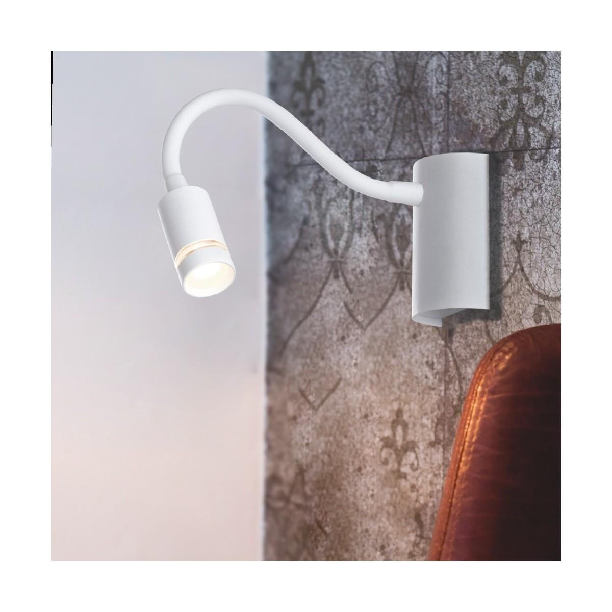 LED-KEPLER-BCO - Lampe de lecture flexible en silicone blanc moderne Lampe LED moderne 3 watts Lumière chaude