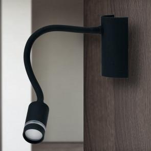 LED-KEPLER-NERO - Applique Lampada da Lettura Flessibile Silicone Nero Moderna Led 3 watt Luce Calda