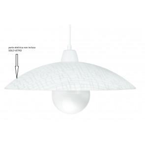I-VKLEE/S42 - Paralume per Sospensione Klee Vetro Bianco decoro Quadri 42x10 cm F42