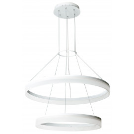 LED-SATURN-S60 - Lustre suspendu Deux anneaux blancs Acrylique Aluminium Led 30 watts Lumière naturelle
