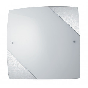 I-PARIS/3030 SIL - Plafoniera Quadrata Vetro Bianco Decoro Argento Soffitto Parete E27