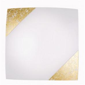 I-PARIS / 4040 GOLD - Plafonnier avec décoration dorée Lampe moderne carrée en verre blanc E27