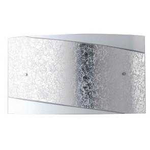I-PARIS / 4525 SIL - Applique moderne rectangulaire en verre blanc à bande argentée E27