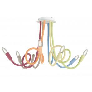 I-LOVER-6-MULT - Plafonnier Multicolore Six Lumières Flexibles Métal Silicone Moderne E14