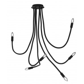 I-LOVER-6-NERO - Plafonnier flexible 6 lumières Metal Black Silicone Modern Lamp E14