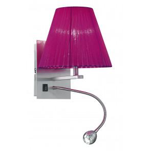 I-090111-5D - Applique Lampe Applique Abat-jour Tissu Violet Lumière Réglable Led 3 watts E14 Lumière Naturelle