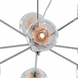 Structure en métal chromé avec diffuseurs en verre et décoration en filet de cuivre