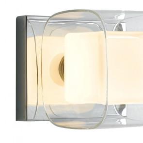 Doppio Paralume Cubico Vetro Trasparente e Vetro Opale con Struttura in Metallo Cromato