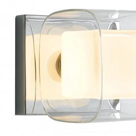 Verre transparent à double abat-jour et verre opale avec structure en métal chromé